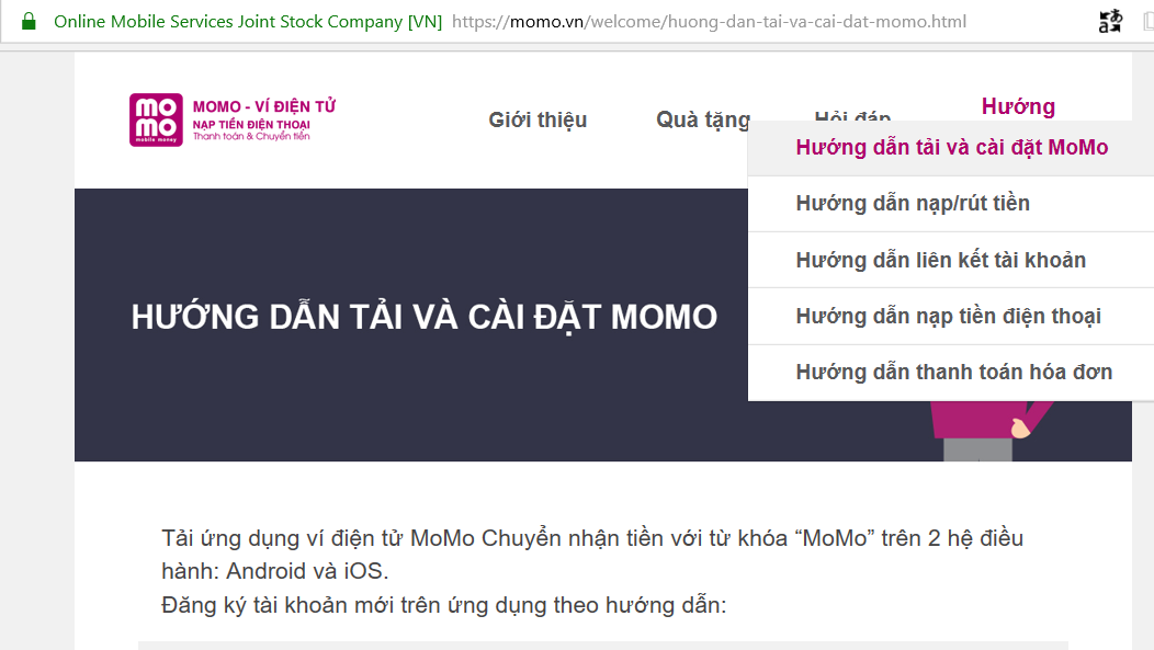 hướng dẫn sử dụng momo